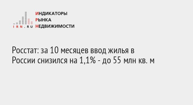 Росстат: за 10 месяцев ввод жилья в России снизился на 1,1% - до 55 млн кв. м